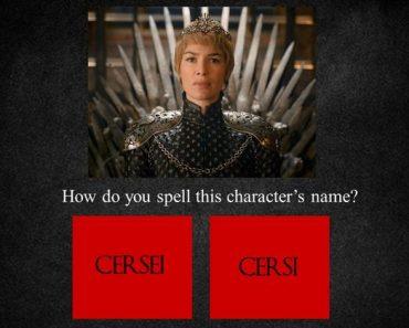 game of thrones spelling quiz